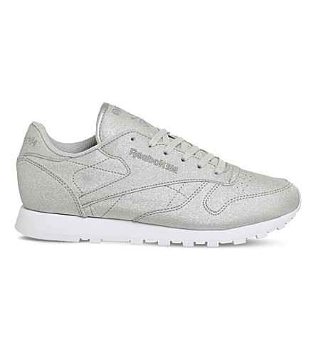 REEBOK Classic metallic-leather trainers (White+diamond