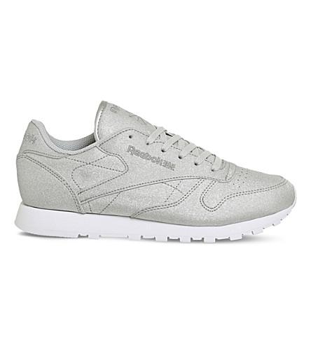 REEBOK Classic metallic-leather sneakers (White+diamond