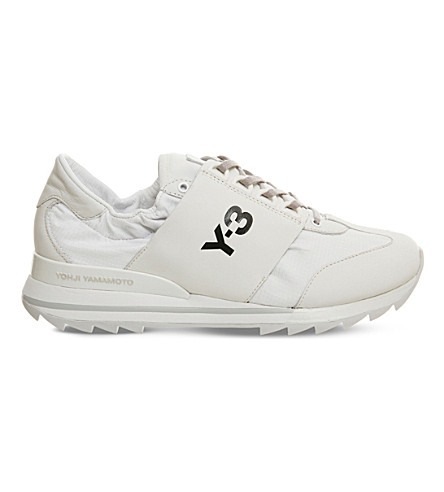 ADIDAS Y3 Rhita Sport leather and mesh sneakers (Crystal+white+grey