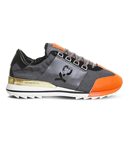 ADIDAS Y3 Rhita Sport leather and mesh trainers (Night orange black