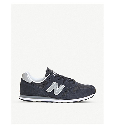 NEW BALANCE M373 suede and mesh trainers (Navy+silver