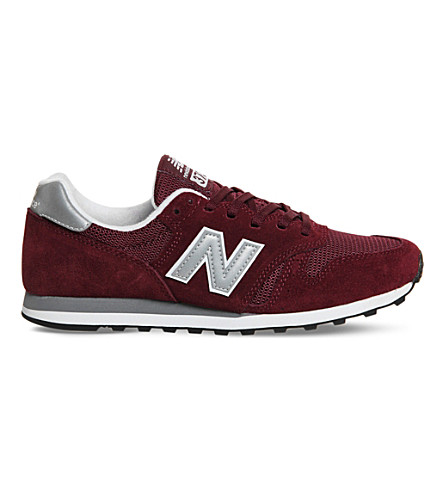 NEW BALANCE M373 suede and mesh sneakers (Burgundy+silver