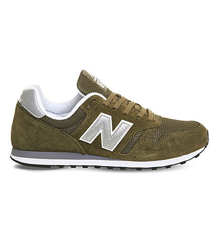 NEW BALANCE M373 suede and mesh trainers (Olive+silver