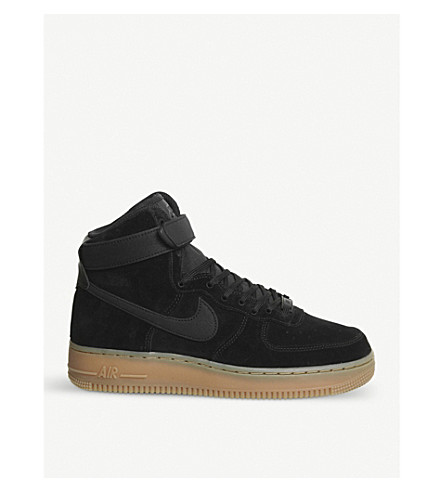 NIKE Air Force 1 suede high-top trainers (Black+black+gum