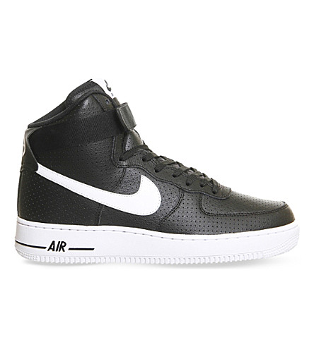 NIKE Air Force 1 leather high-top trainers (Black perforated