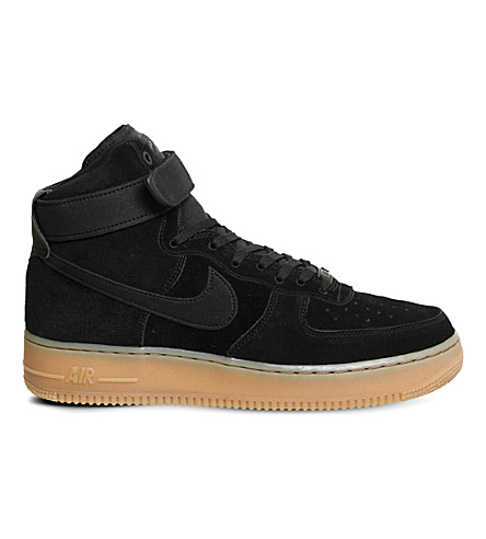 NIKE Air Force 1 suede high-top trainers (Black+gum+m