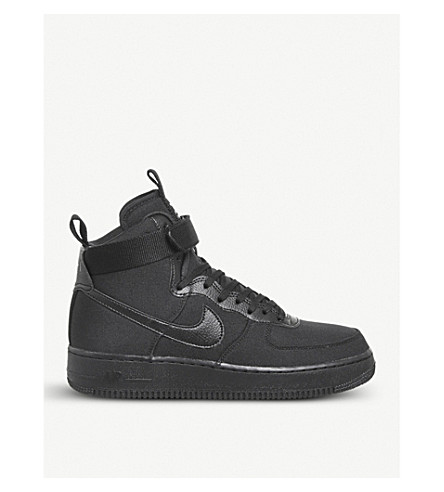 NIKE Air Force 1 high-top canvas and leather trainers (Black+anthracite