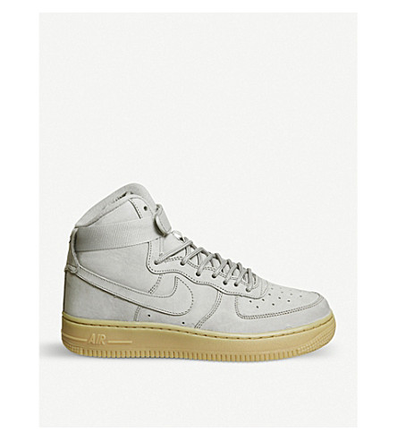 NIKE Air Force 1 leather high-top trainers (Medium+grey