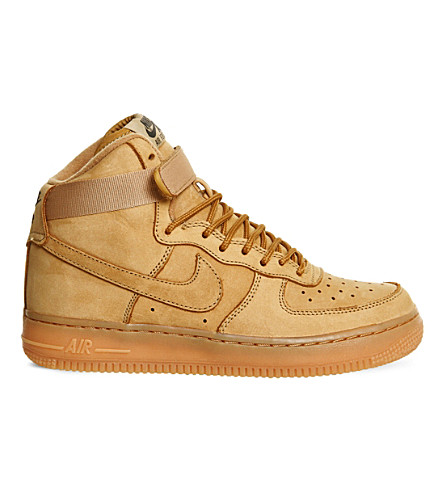 NIKE Air Force 1 high-top leather trainers (Flax