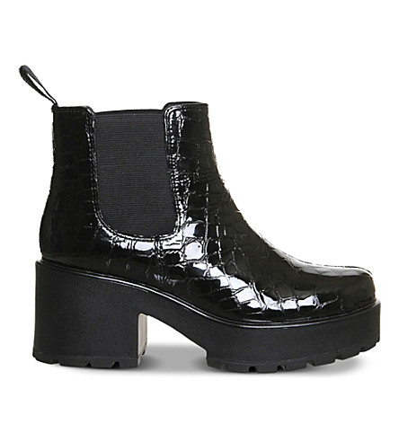 VAGABOND Dioon embossed patent leather chelsea boots (Black+croc+leather