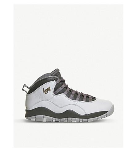 NIKE Air Jordan 10 Retro London leather trainers (Platinum gold grey