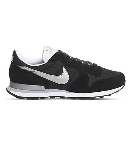 NIKE Internationalist suede and mesh trainers (Black+white+silver