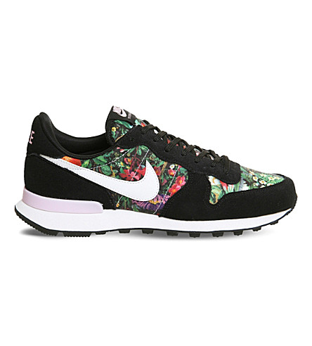 NIKE Internationalist floral trainers (Black+white+pink