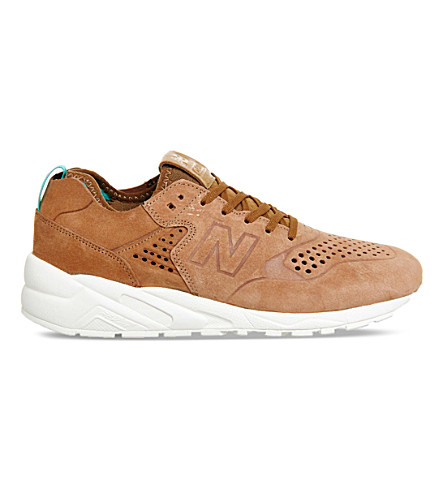 NEW BALANCE 580 Deconstructed suede trainers (Rust tan white