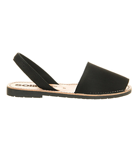 SOLILLAS Negro nubuck leather peep-toe sandals (Black+leather