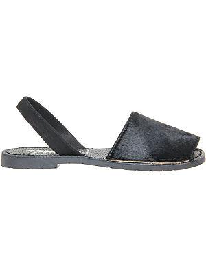 SOLILLAS Ponyskin and leather peep-toe sandals