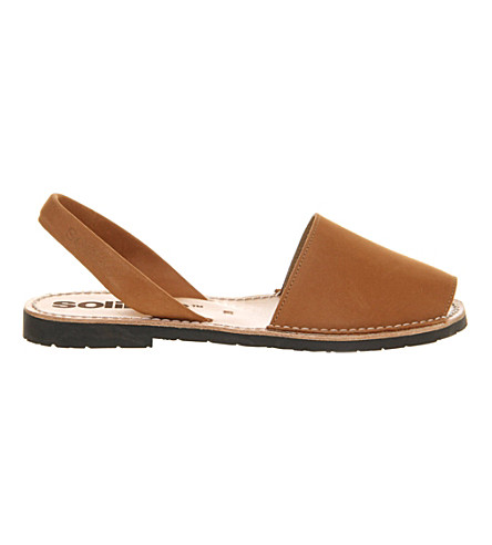 SOLILLAS Cuero nubuck leather peep-toe sandals (Tan+leather