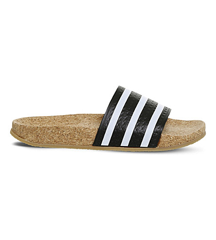 ADIDAS Adilette cork sliders (Black+white+cork