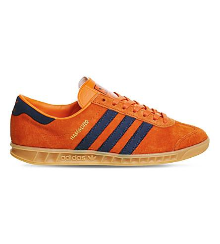 ADIDAS Hamburg leather and suede low-top trainers (Super orange gum