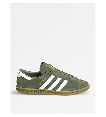 ADIDAS 汉堡绒面革运动鞋 (卡其色 + 白色