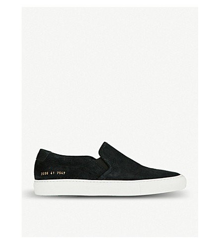 COMMON PROJECTS Slip-on suede skate shoes (Black+waxed+suede