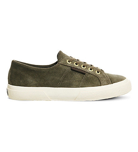 SUPERGA 2750 lace-up suede trainers (Khaki gold suede