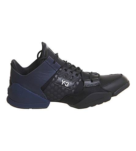 ADIDAS Y3 Kanja mesh and leather trainers (Black+iris+white