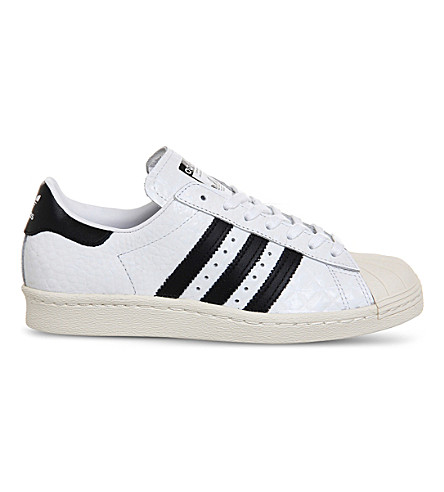 ADIDAS Superstar 80s textured leather trainers (Black off white croc