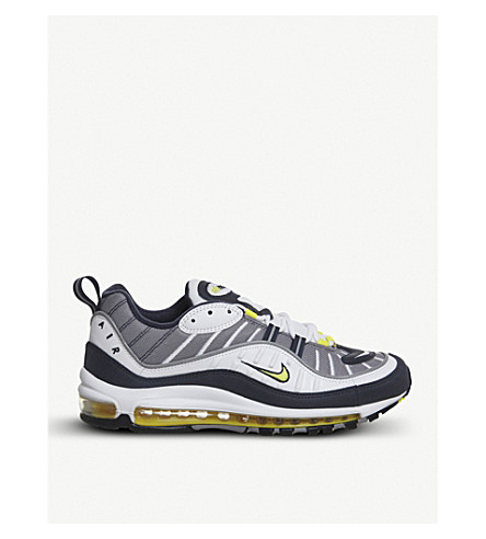 NIKE Air Max 98 low-top leather trainers (White+tour+yellow