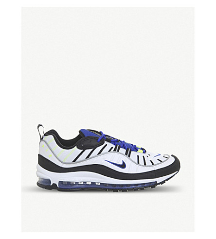 NIKE Air Max 98 leather trainers (White+black+blue