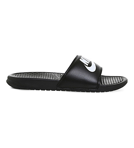 NIKE Benassi logo-detail pool sliders (Black+white