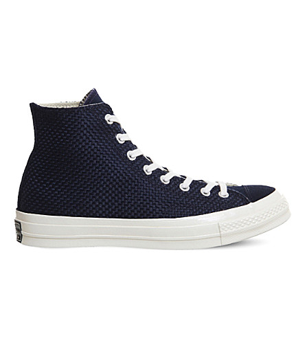 CONVERSE All Star 70 woven canvas and suede high-top trainers (Obsidian+egret