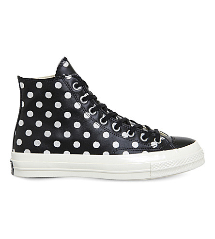 CONVERSE All star ox 70s leather high-tops (Black+polka+dot