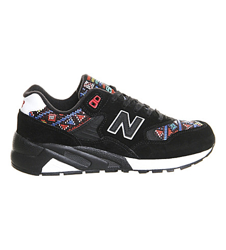 NEW BALANCE 580 tapestry suede trainers (Black white red