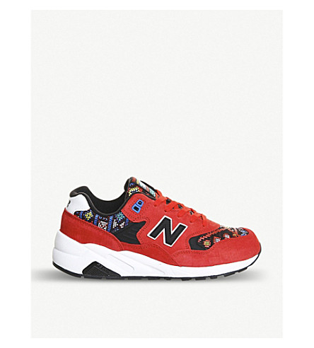 NEW BALANCE 580 tapestry suede trainers (Red/white