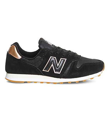 NEW BALANCE W373 suede and mesh trainers (Black+metallic+rose