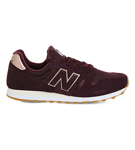 NEW BALANCE W373 suede and mesh trainers (Burgundy+metallic
