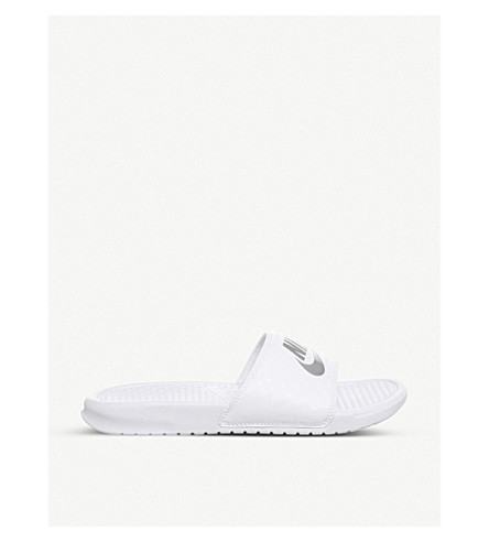 NIKE Benassi pool sliders (White+silver