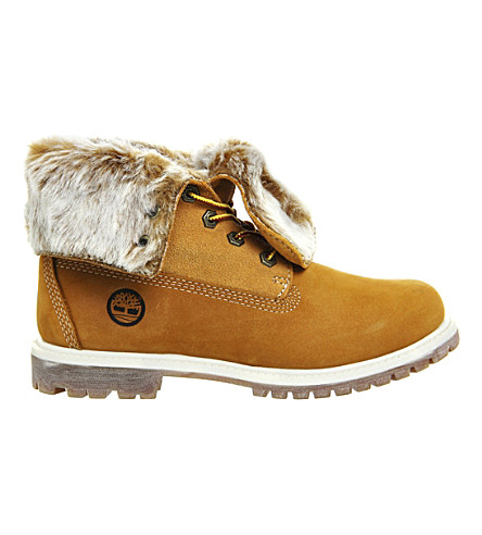 TIMBERLAND Leather faux-fur fold-down boots (Wheat nubuck