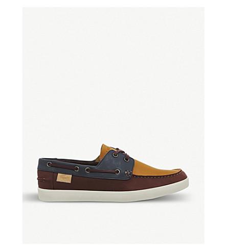 46197e3bfbda LACOSTE Keellson colour-blocked leather boat shoes (Dark+brown+navy+tan