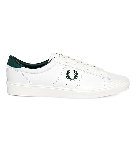 FRED PERRY Spencer leather trainers (Porcelain+green