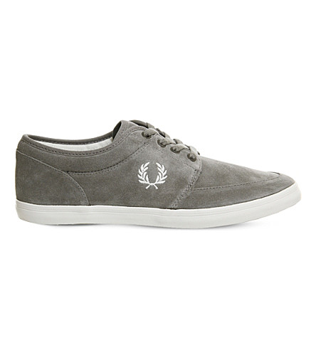 FRED PERRY Stratford suede low-top trainers (Falcon+grey+suede