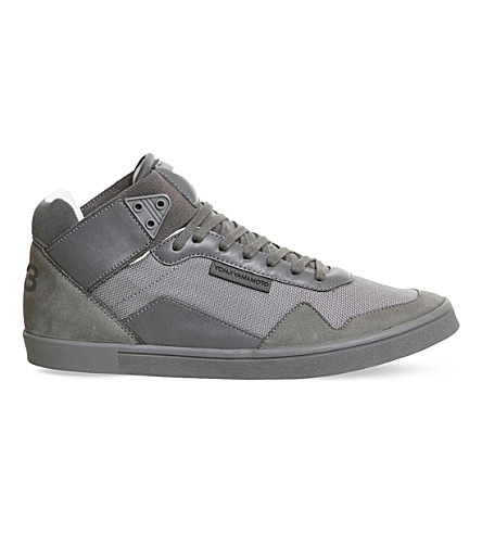 ADIDAS Y3 Kazuhuna leather and mesh trainers (Vista+grey