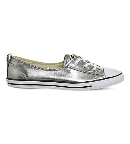 CONVERSE Ctas metallic-leather ballet flat trainers (Silver+canvas