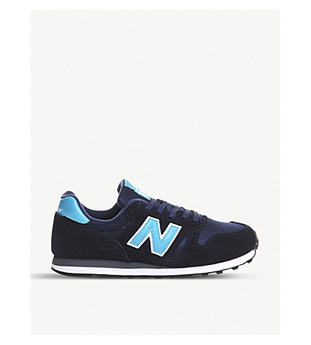 NEW BALANCE 373 suede and mesh trainers (Navy bright blue