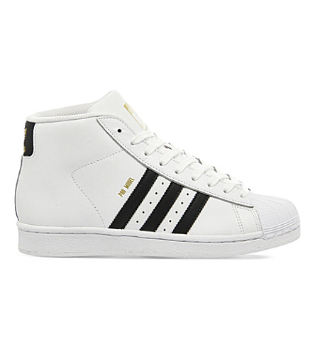ADIDAS Pro model leather high-top sneakers (White+black
