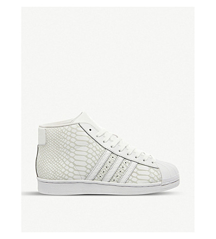 ADIDAS Pro model leather high-top trainers (White snake