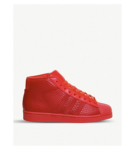 ADIDAS Pro Model leather high-top trainers (Red snake