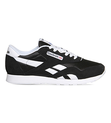 REEBOK Classic suede and nylon trainers (Black+white