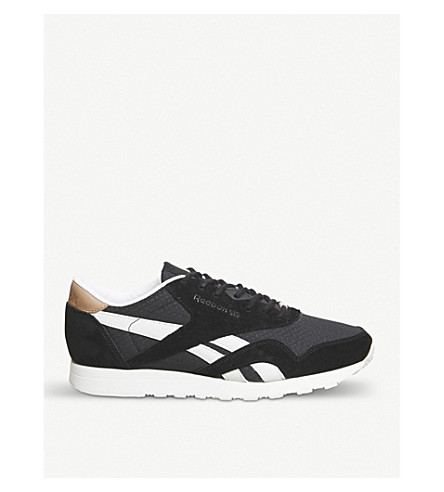 REEBOK Classic nylon suede trainers (Black+chalk